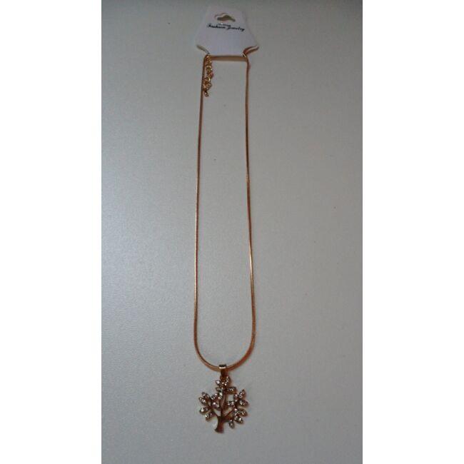 Fa medálos arany színű nyaklánc, strasszkövekkel díszítve