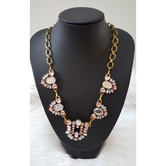 Strasszköves elegáns nyaklánc rózsaszín