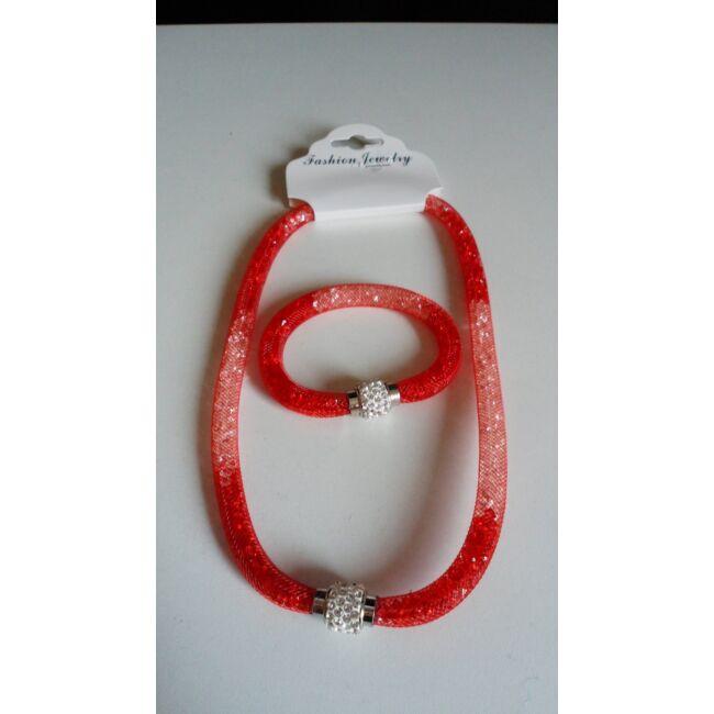Belül köves nyaklánc karkötő szett sötét piros