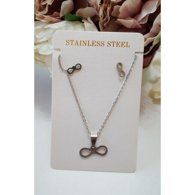 Végtelen jel medálos nyaklánc fülbevaló szett ezüst színű