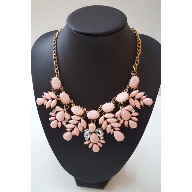 Virág mintás köves nyaklánc, rózsaszín