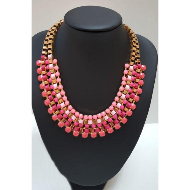 Strasszköves nyaklánc, sötét rózsaszín