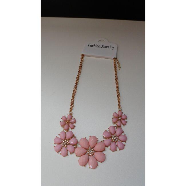 Virág mintás nyaklánc, rózsaszín