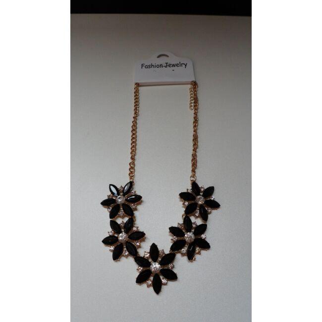 Virág formájú nyaklánc, fekete