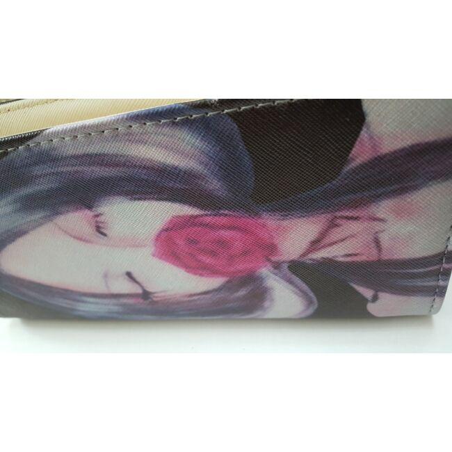 Női arc mintás pénztárca