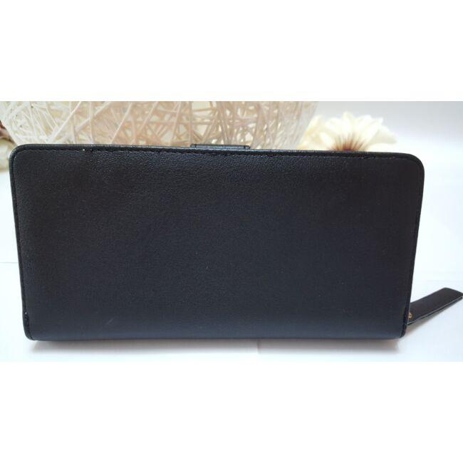 Levél mintás nagy méretű női pénztárca fekete