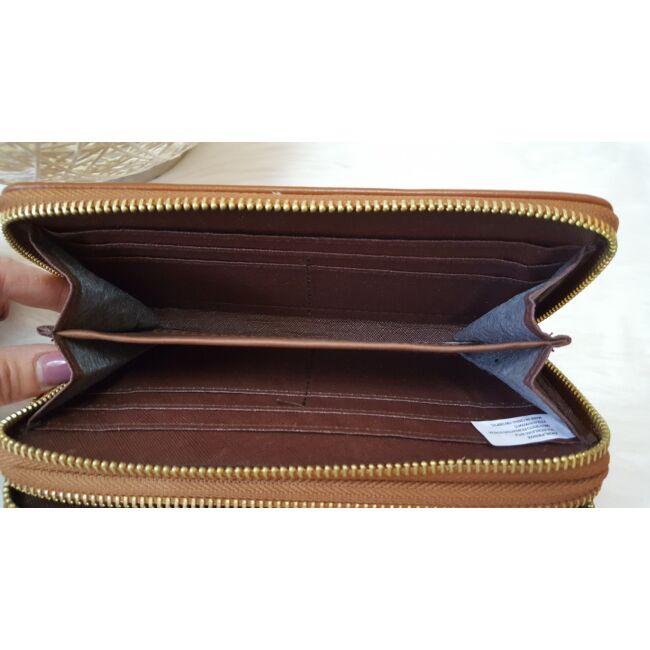 Dupla fakkos vastag pakolós női pénztárca barna