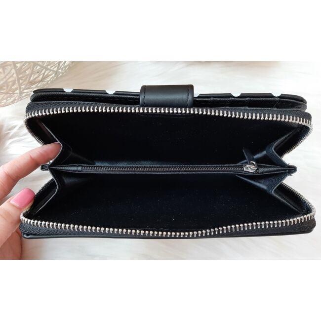 Pöttyös mintás vastag nagy méretű pénztárca fekete