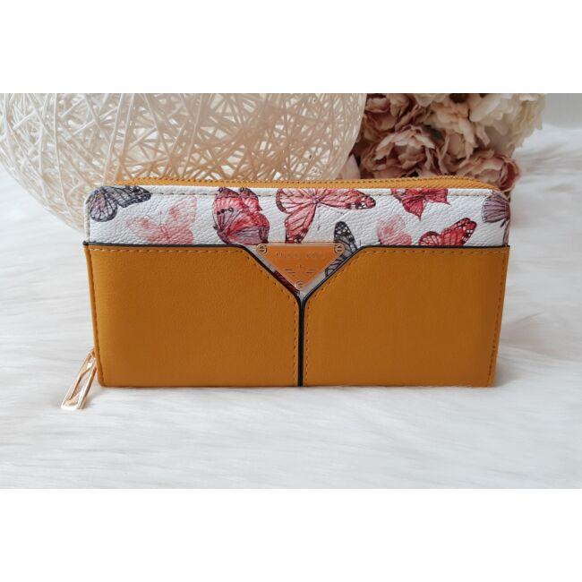 Pillangó mintás női pénztárca sárga