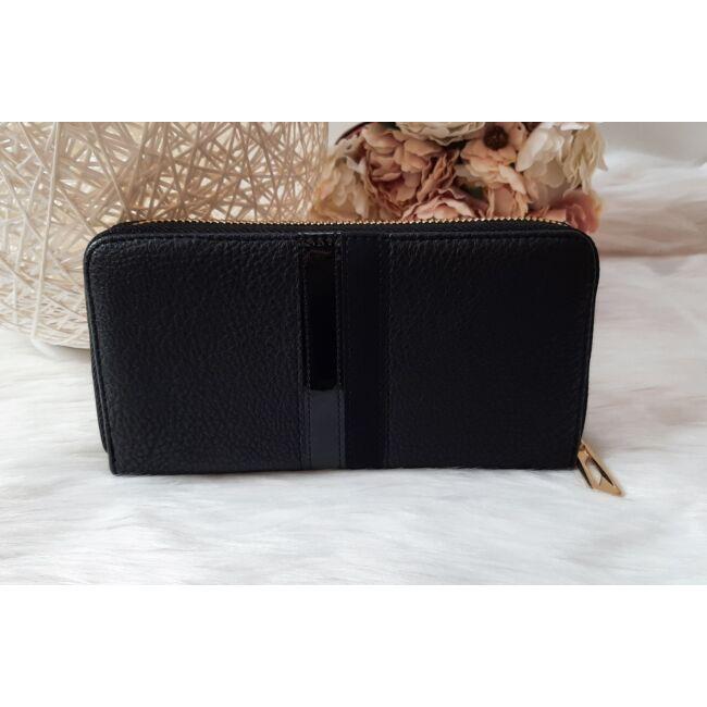 Csíkos mintás egyszínű női pénztárca fekete