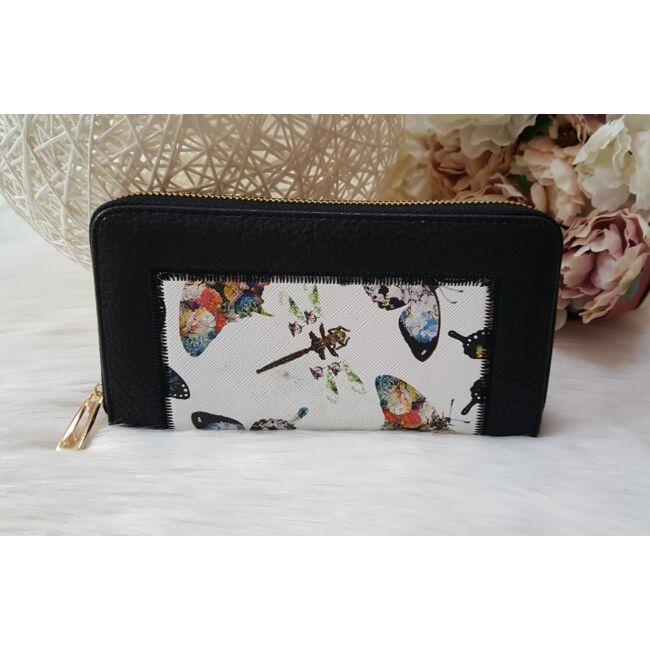 Pillangó mintás női pénztárca fekete