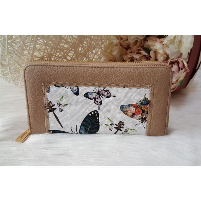 Pillangó mintás női pénztárca barna