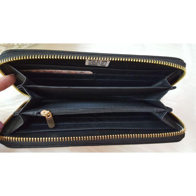 V mintás elegáns női pénztárca fekete