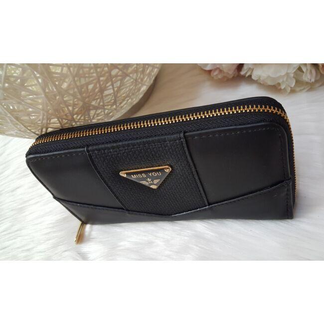 Egyszínű elegáns női pénztárca fekete