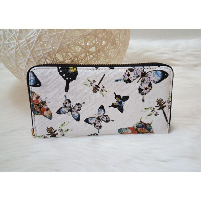 Pillangó mintás elegáns női pénztárca fekete