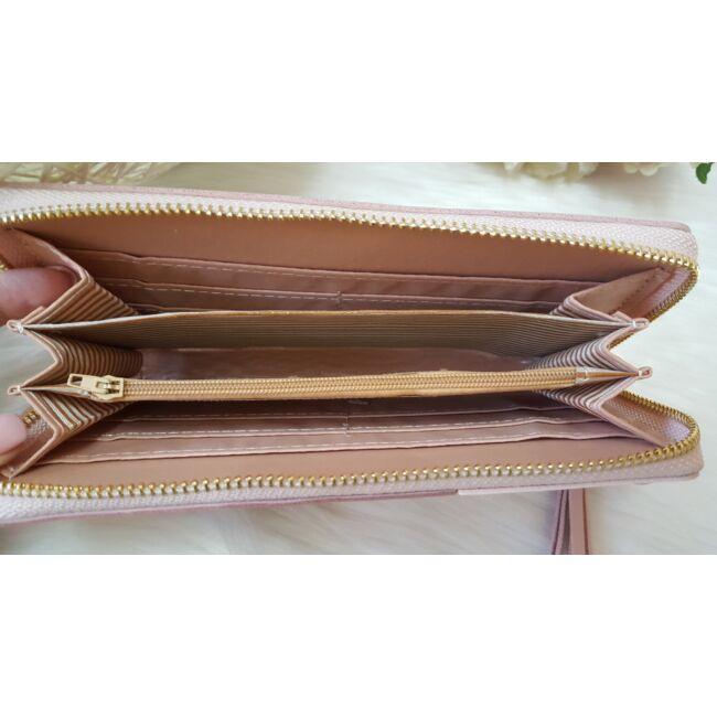 Három színű elegáns női pénztárca rózsaszín