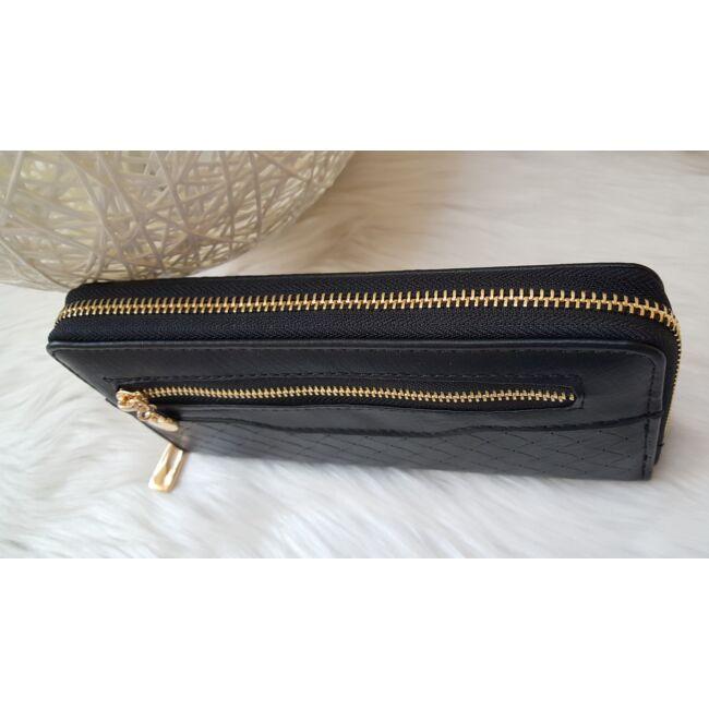Cipzár díszes elegáns női pénztárca fekete
