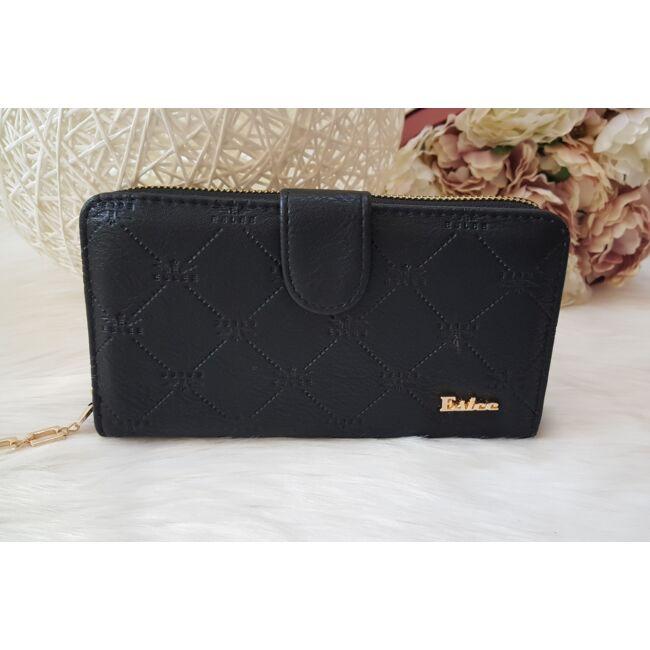 Rombusz mintás vastag nagy méretű pakolós női pénztárca fekete