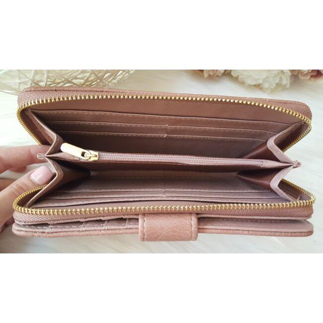 Rombusz mintás vastag nagy méretű pakolós női pénztárca lilás