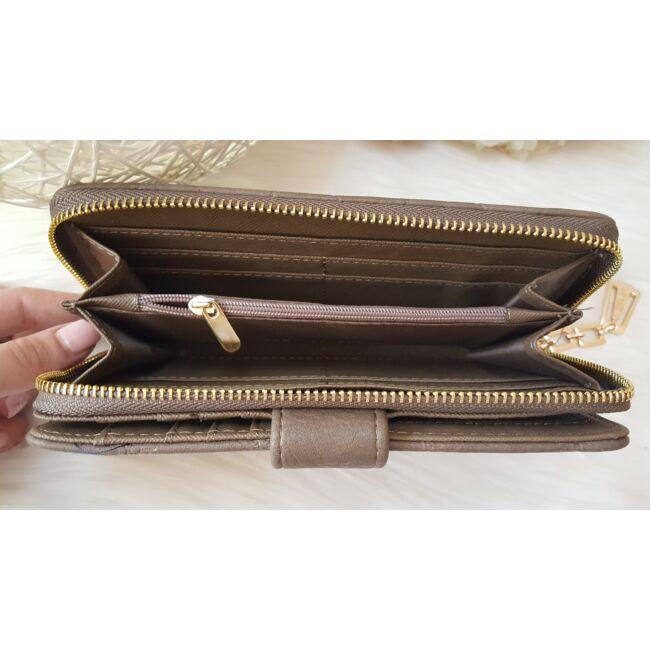 Rombusz mintás vastag nagy méretű pakolós női pénztárca barna