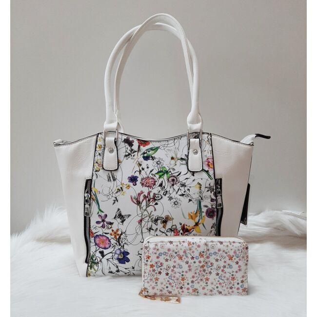 White flower táska pénztárca szett