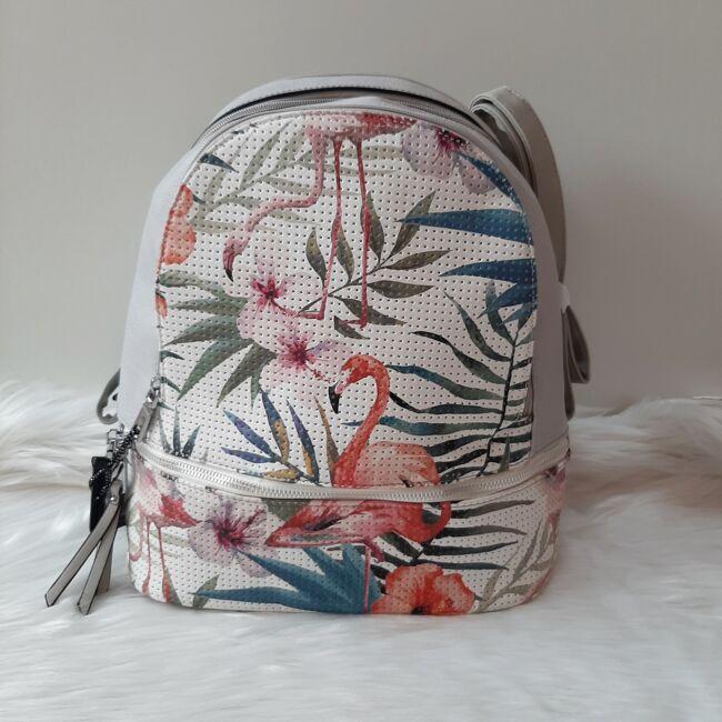 Flamingo virág mintás elegáns női hátitáska szürke