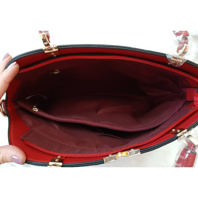 Merev falú V díszes női válltáska piros
