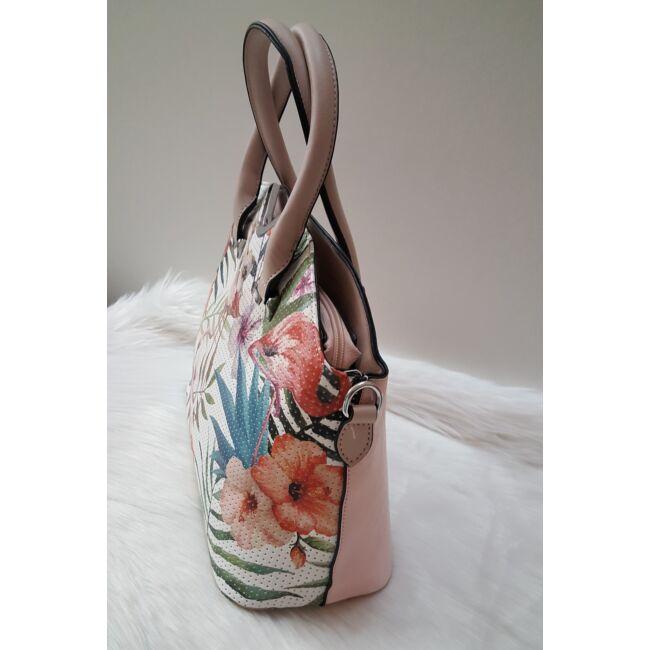 Flamingó virág mintás elegáns női táska rózsaszín